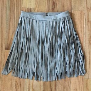Fringe Faux Taupe Suede Skirt